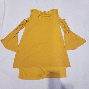 Medium Fever Long Sleeve Golden Yellow Dress